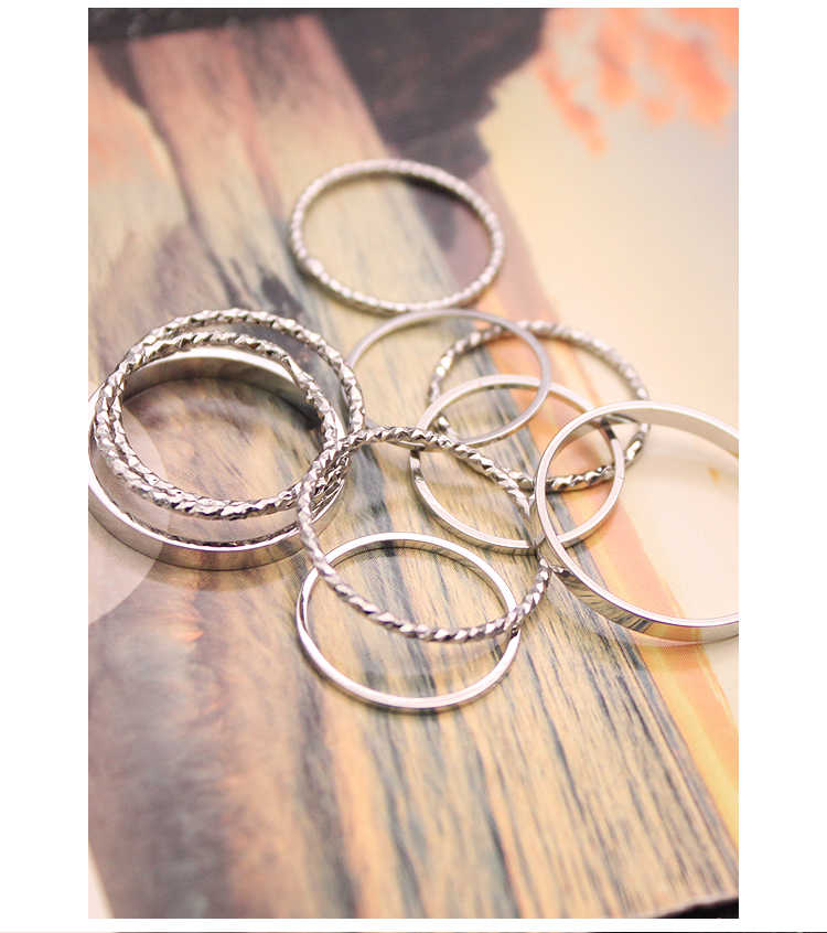 Hot style Korean ring set of ten female personality combination simple student ornaments