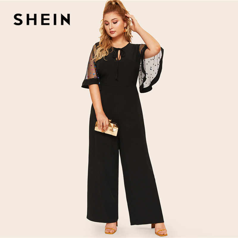 SHEIN Plus Size Black Tie Neck Sequin Mesh Flutter Sleeve Wide Leg Jumpsuit Women Spring Solid Half Flounce Sleeve Jumpsuits