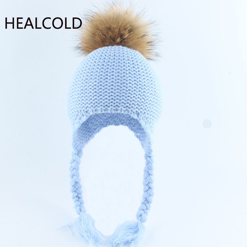 Real Raccoon Fur Pompom Beanie Hats For kids Boys And Girls Babay Winter Hat Warm Ear Protection Caps 2019(China)