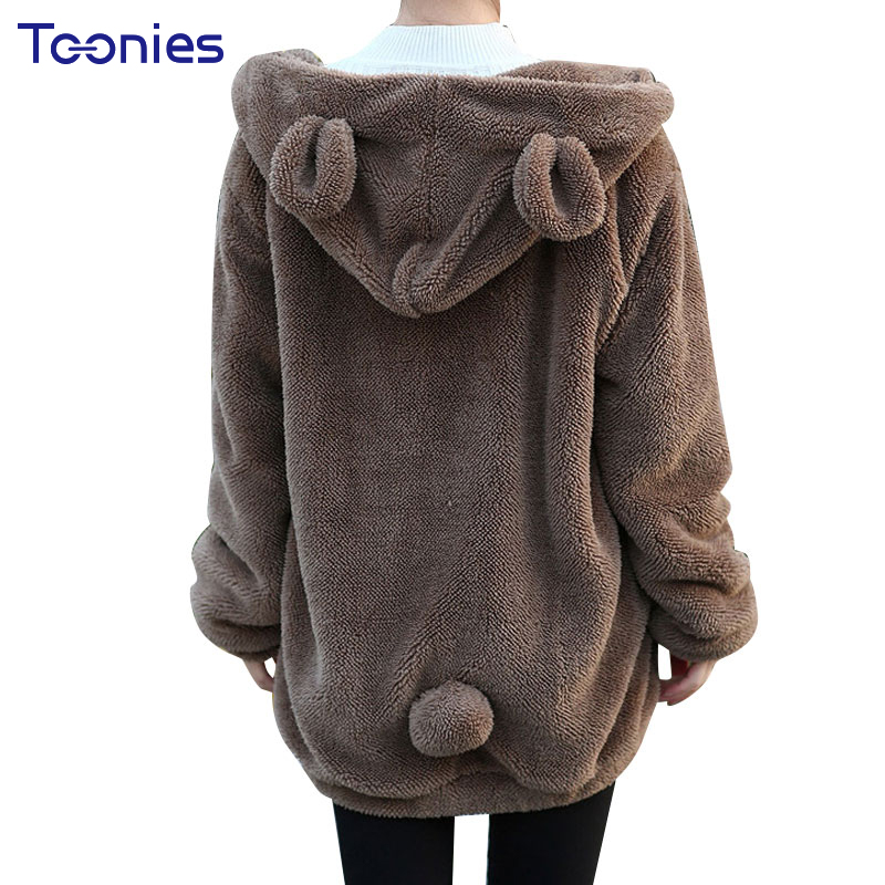 Women Winter Plush Sweatshirt Oversized Hoodie Thick Casual Loose Cute Hooded With Bear Ears Pockets Zip-up Autumn Girl Hoodies