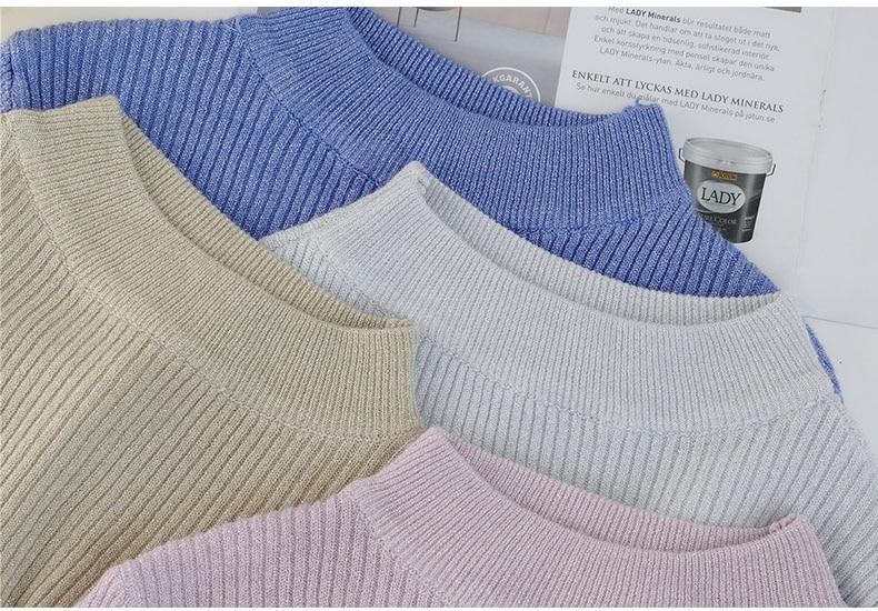 Shiny Lurex Autumn Winter Sweater Women Long Sleeve Pullover Women Basic Sweaters Turtleneck 19 Korean Style Knit Tops Femme 3