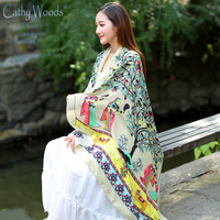 New Elegant Women Springs Tree Leaves Printed Infinity Scarf Shawl Luxury Brand Summer Beach Shawl Scarf
