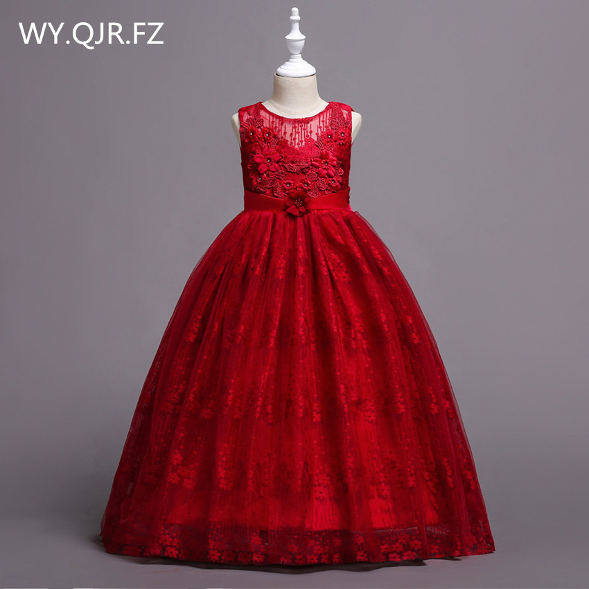 BH831J#Red Princess   Flower     Girl     dresses   children medium large size lace wedding party prom ball gown long Children's   dress   2018
