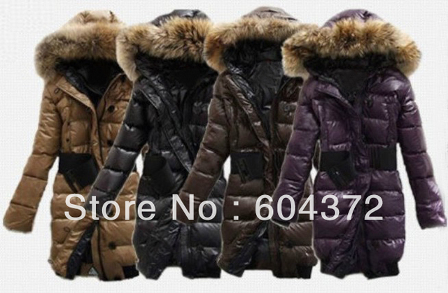 e0f979dbad0 Brand Ladies Down Coat Black Purple Coffee Khaki Fashion Designer Fur  Collar Warm Winter Coat Skiing Women s Hooded Down Jacket