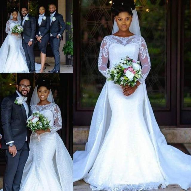 Robes De Mariee Sirene Africaine Elegante A Manches Longues 2019 Robe En Dentelle Transparente Robes Filles Noires Femmes Trouwjurk