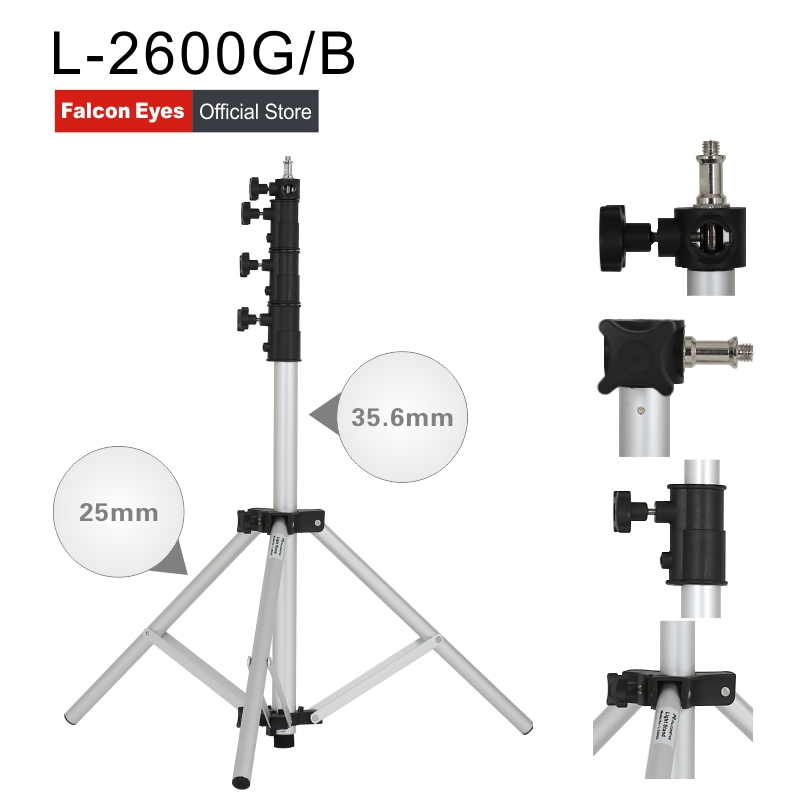Falcon Eyes Lightweight Light Stand Portable Adjustable Light Stands 4 Sections DSLR Camera Tripod For LED