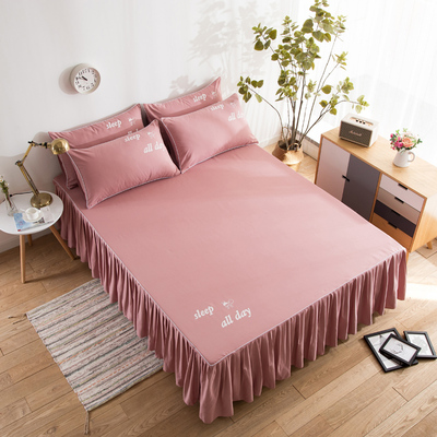 Solid Bedding Set Cotton Bedspread Pillowcases 3PCS/Lot Korean Mattress Cover With Elastic Band Single Double Bed Skirt Sweet