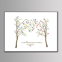 Custom Gueat Book Fingerprint Wedding Tree Painting Baby Shower Party Decoration Diy Fingerprint Wish Tree Signature