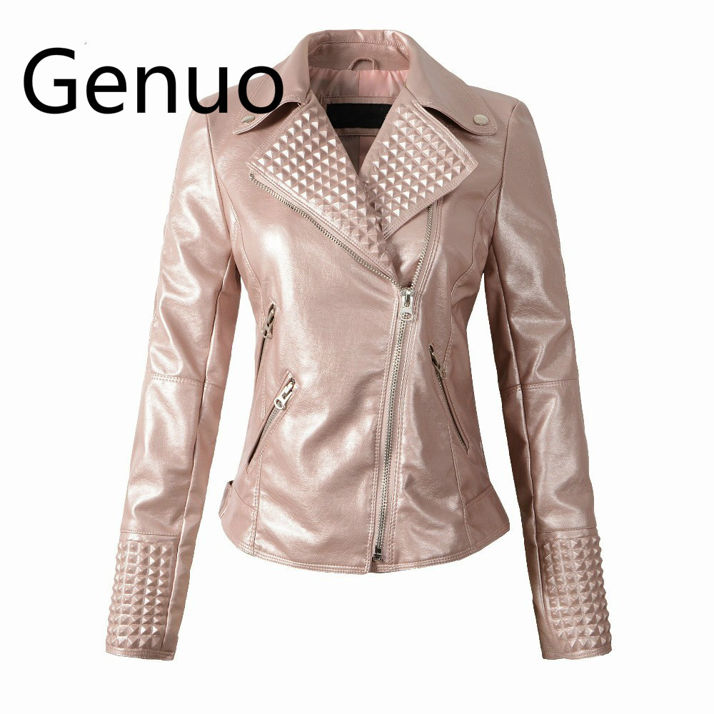 Women Autumn rivet jacket Punk Style Short   Leather   Coat Faux   Leather   Ladies Jacket Pink Zipper Slim fit PU   Leather   Coat