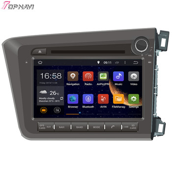 TOPNAVI 8'' Quad Core Android 6.0 Car GPS Navigation for CIVIC Right Driving 2012- For Honda Autoradio Multimedia Audio Stereo image