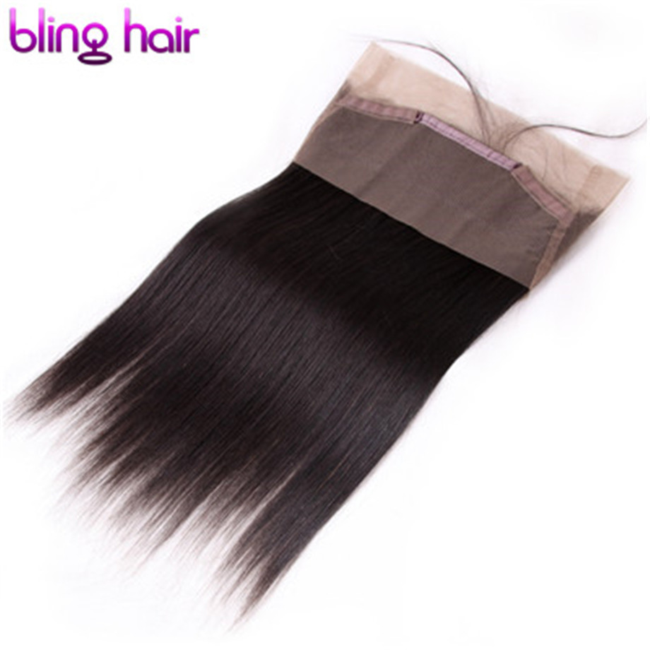bling hair 5 Bundles Straight 360 Lace Frontal Human Hair Closure Brazilian Hair Free Part 100