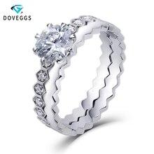 DovEggs Center 1ct Carat 6mm Octangle Cut F Color Moissnaite 14K White Gold Bridal Engagement Ring Set for Women Wedding Gift