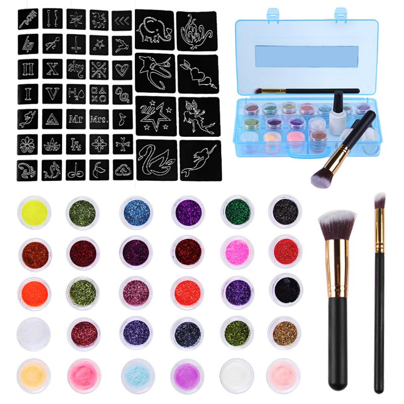 24 Colors Temporary Glitter Powder Body Tattoo Art Paint Set Fancy Women Body Art Design DIY Henna Stencil + Brush+ Glue Kit led drl daytime running light cob angel eye projector lens fog lamp with cover for nissan versa sunny 2014 15 2 pcs