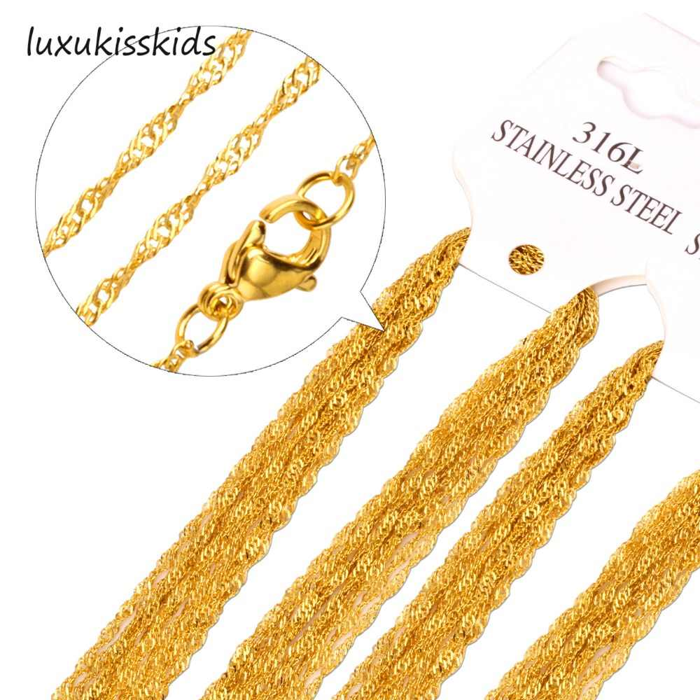 "LUXUKISSKIDS Promotion sale wholesale Price 10pcs/lot Gold/Silver 2mm Necklace Chain 18""20""22""24inch Twisted Singapore Chains"