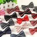 Детский галстук-бабочка печатные полосатый полиэстер шелк модные Детские для детей мальчиков свадьба галстуки 100 шт./лот