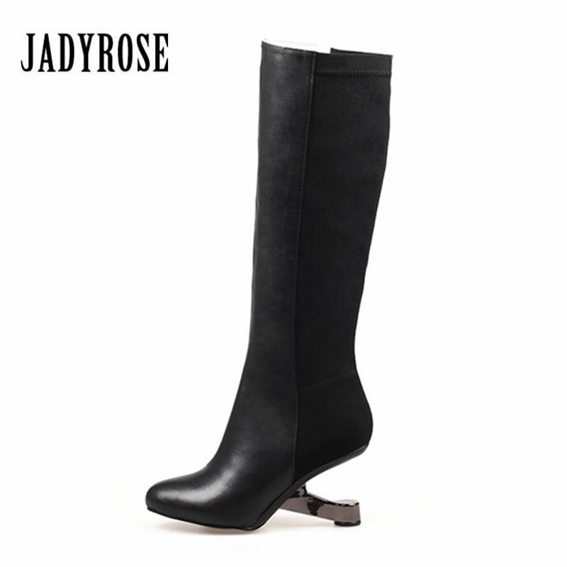 Jady розы женские сапоги до колена черного цвета необычном высоком каблук Женская зимняя обувь Теплые Высокие Slim Fit эластичная ткань обувь же