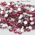 1000 pcs 6mm Rosa Escuro 14 Facetas de Resina Rodada Strass Espumante Pedrinhas Nail Art Decoração DIY N13