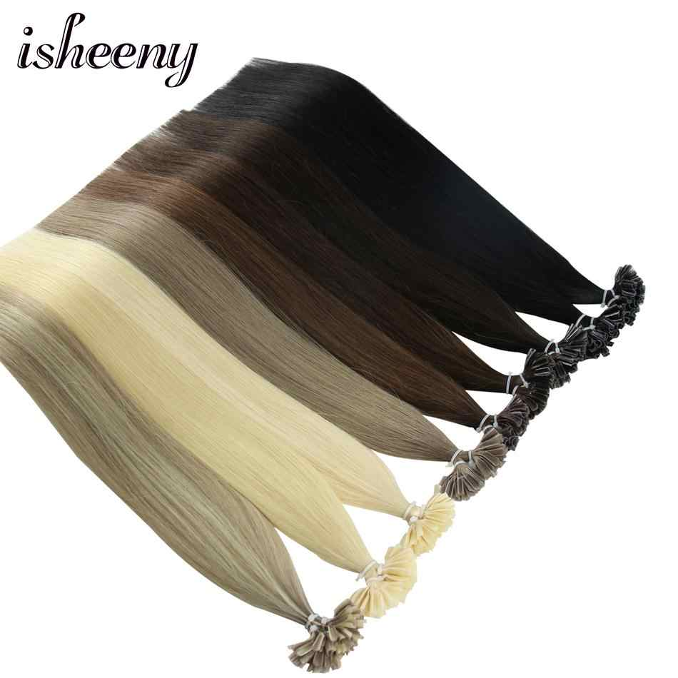 "Isheeny 50pc 100pc Fusion Nail/U Tip Hair Extensions 14"" 18"" 22"" Remy Keratin European Human Hair On Capsule"