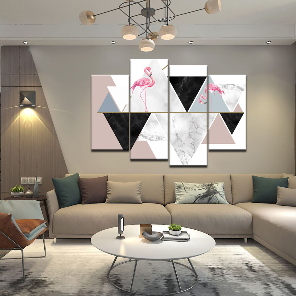 Abstract Geometric Diagram Wall Art Canvas Painting Animal Bird Pink Flamingo Home Decor Living Room Picture Print Poster Mural