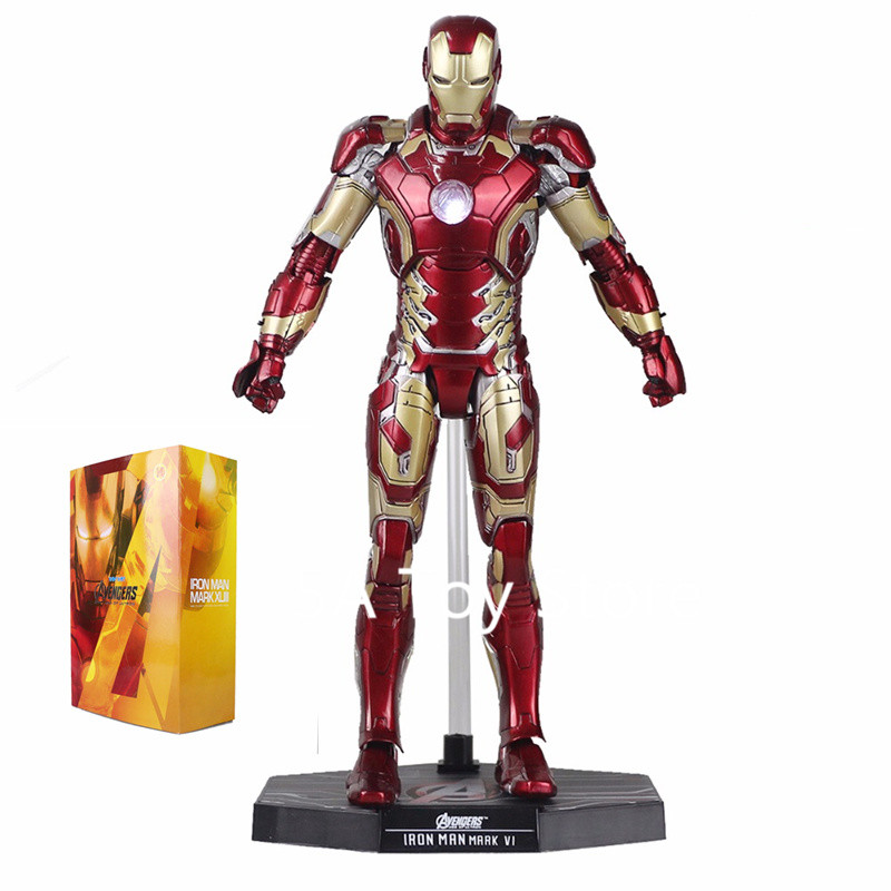Avengers Super Hero Iron Man Mark XLII MK42 with LED Light 1/6th Scale Collectible Figure Model Toy Retial Box 12