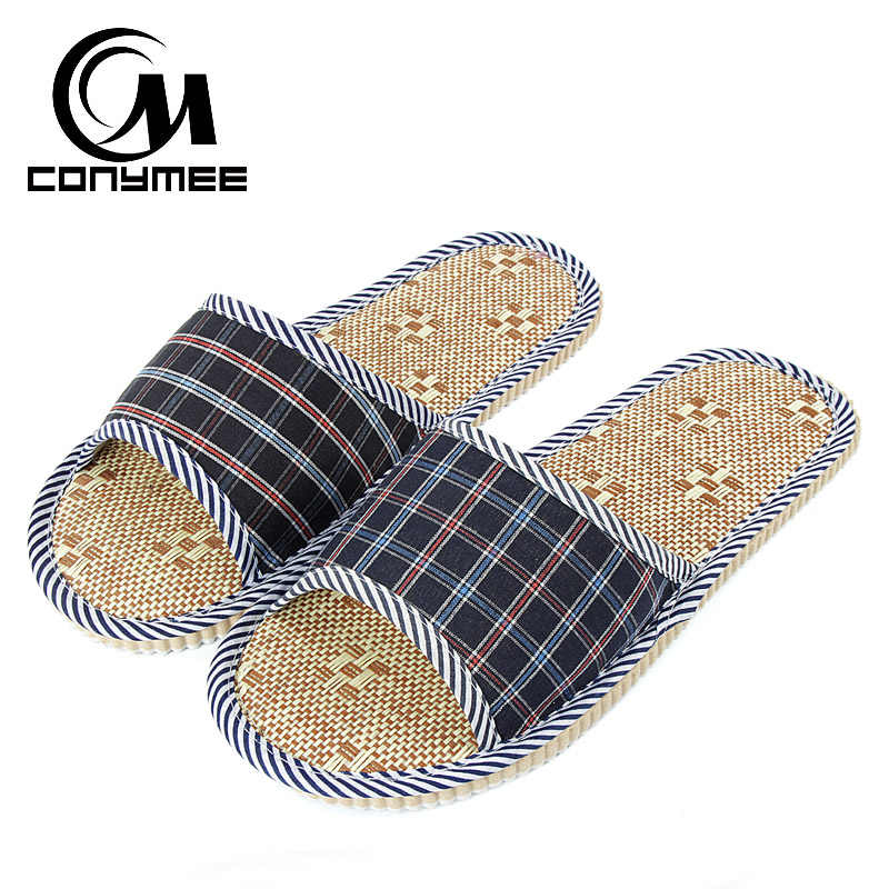 YM-PMSH Indoor Floor Mens Casual Shoes Summer Beach Slippers Sandals Breathable Flax Linen Home Slippers Male Bath Flip Flops