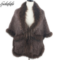 plus size Knit Long Real Rabbit Fur Coat Women Winter Cross Genuine Raccoon Fur Bat Cloak Shawl Thick Loose Natural Fur Jacket
