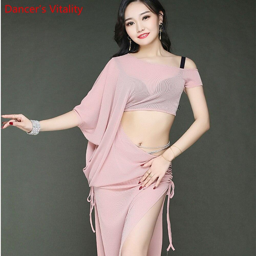 5 Colors Belly Dance Costume Leak Shoulder Belly Dance Dress Sexy Split EndsBaring Belly Dance  Dancing Silver Thread Yarn Dress