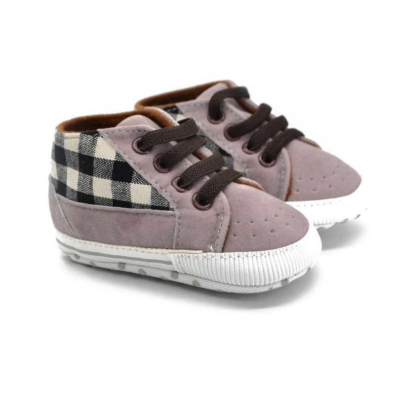 Kisgyermek csecsemő kisfiú cipő csipke alkalmi cipő PU kockás puha talpas cipő