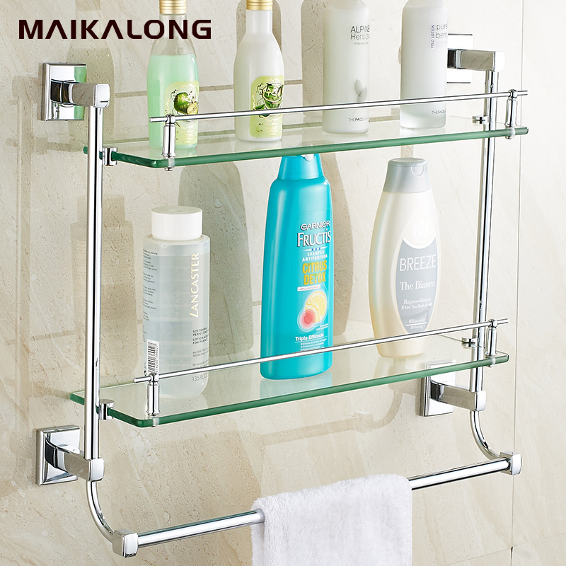 Bathroom Glass Shelf Wall Mount With Towel Bar And Railchrome