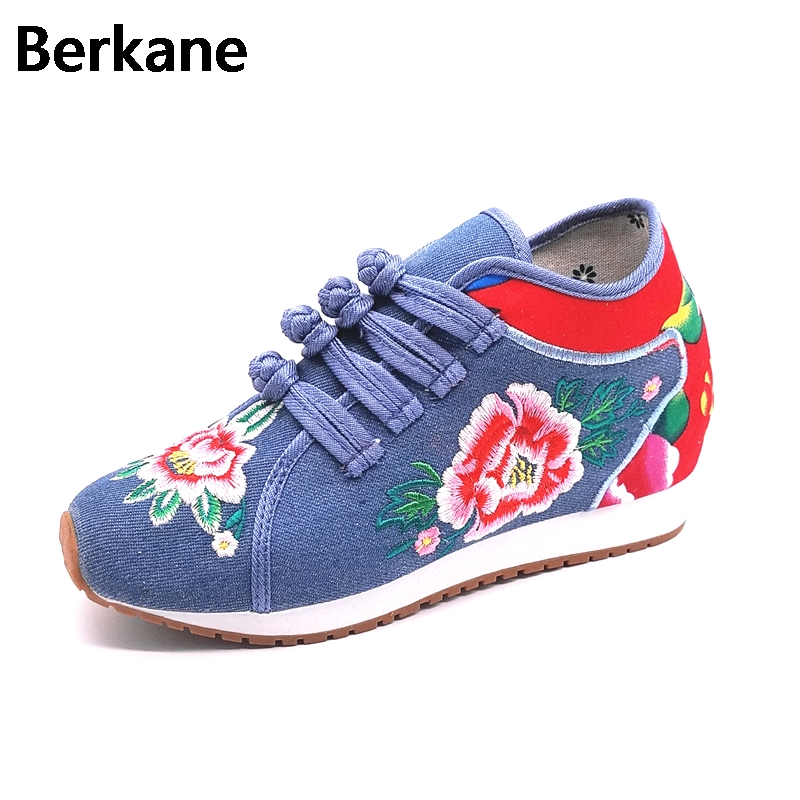 2018 Old Beijing Hidden Height Cloth Embroidery Elevator Shoes Wedges Women Floral Ethnic Denim Canvas Casual Lady Zapatos Mujer wegogo women flats casual flower embroidery shoes chinese old beijing ladies canvas ballet shoes woman zapatos mujer big size 41