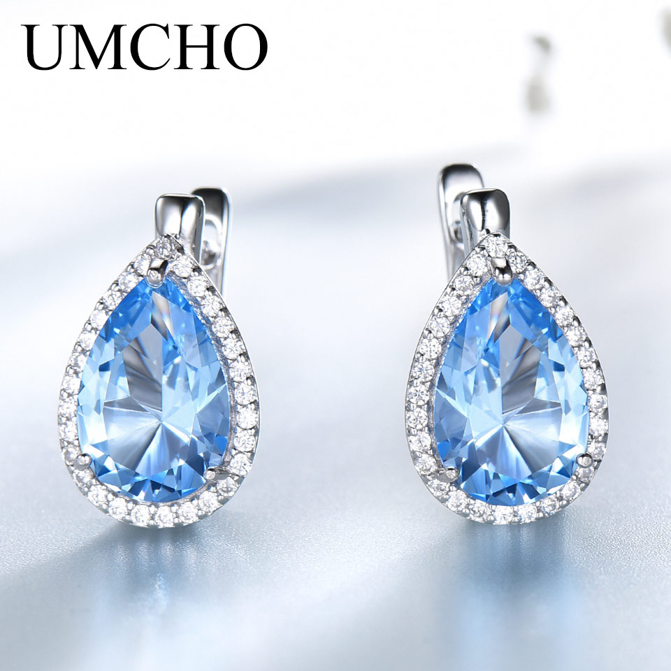 14ee78282043 UMCHO sólido 925 pendientes de plata de ley pera Nano cielo azul Topacio  Esmeralda piedras preciosas pendientes de Clip para mujeres Regalo de  Cumpleaños ...
