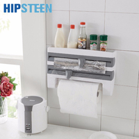 3 In 1 Plastic Wall Mounted Wrap Foil Dispenser With Paper Towel Holder And Spice Rack