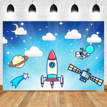 NeoBack Astronaut Backdrop Moon Star Planet Cartoon UFO Baby Birthday Party Photography Background