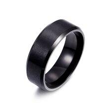 Titanium-Ring Jewelry Wedding-Bands Engagement Black Male Anel Classic Fashion 8mm