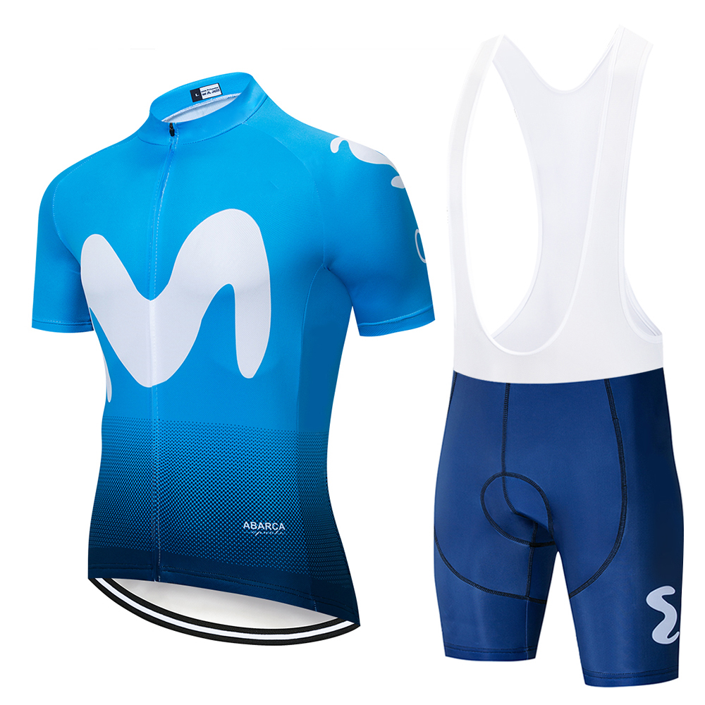 2019 Movistaring Team Short-sleeved Cycling Jersey Suit Bib Roa Ciclismo Bicycle Suit MTB Bicycle Jersey Uniform Men's Clothing