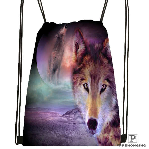 Custom Wolf_moon_by_kyghost Drawstring Backpack Bag Cute Daypack Kids Satchel (Black Back) 31x40cm#180611-03-107