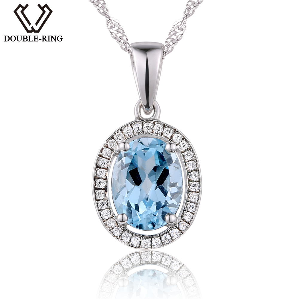 DOUBLE-R Silver Charm Pendant Ladies 2.4ct Natural Oval Blue Topaz Necklaces Women Classic Lover jewelry Mother's Day Gift double r 1 6ct natural diamond pendants female 925 silver oval topaz pendant necklace classic mother s day gift diamond jewelry