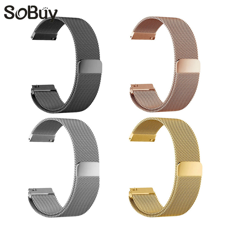 So buy for Samsung Huawei DW Mi watch strap stainless steel band magnetic wristband Milanese Loop bracelet 23mm 22mm 20mm 18mm