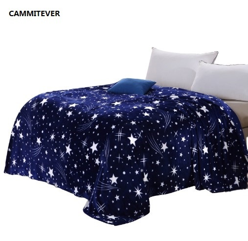 CAMMITEVER Stars Galaxy Blanket Flannel Fleece Plaid Sofa Throws Spring Winter Plaid Blankets Print Blanket