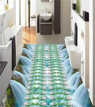 3d pvc flooring custom photo mural picture wall sticker pretty Waterfall lotus floor painting room wallpaper for walls 3d