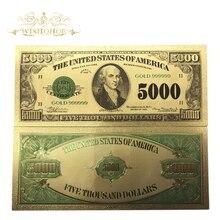 Wishonor 10 шт./лот драгоценный подарок американская цветная Золотая банкнота $5000 доллар банкнота в 24K ложная Денежная купюра для коллекции