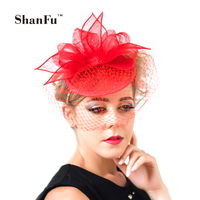 ShanFu 2015 Fashion Lady Pillbox Fascinator Hat Elegant Church Hat with Birdcage Veil Cocktail Hat White Black Red Blue SFC12418