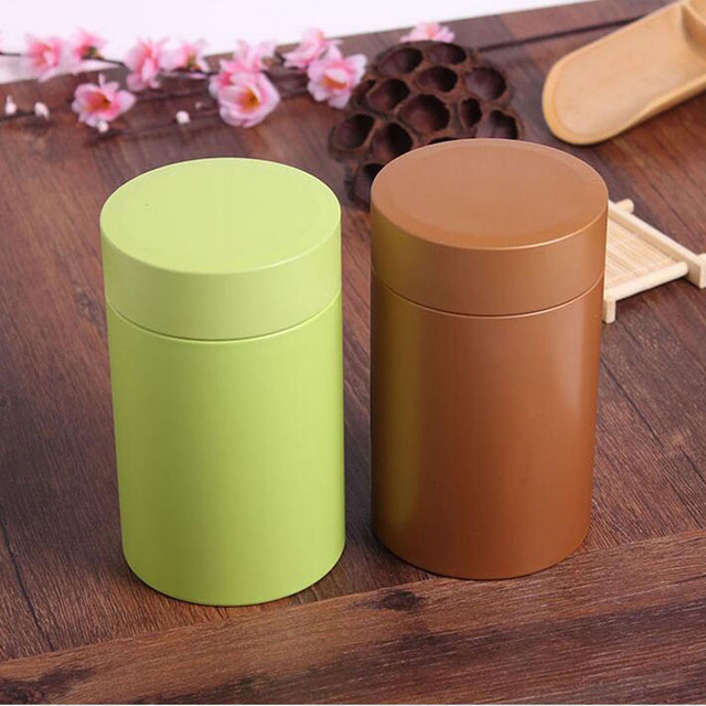 82144mm Round Metal Tea Tin Box Food Storage Boxes Solid Color