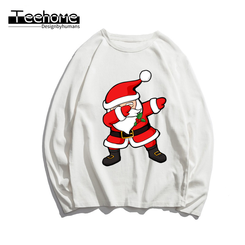 Men's Dabbing Santa Print Long Sleeve Autumn Men and Women Full Sleeve Harajuku Merry Christmas T Shirt Winter Streetwear
