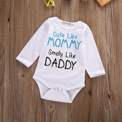 d43994168e1c Cute Newborn Infant Baby Boy Girl Quote Mommy Toddler Jumpsuit White Cotton  Bodysuit Clothes