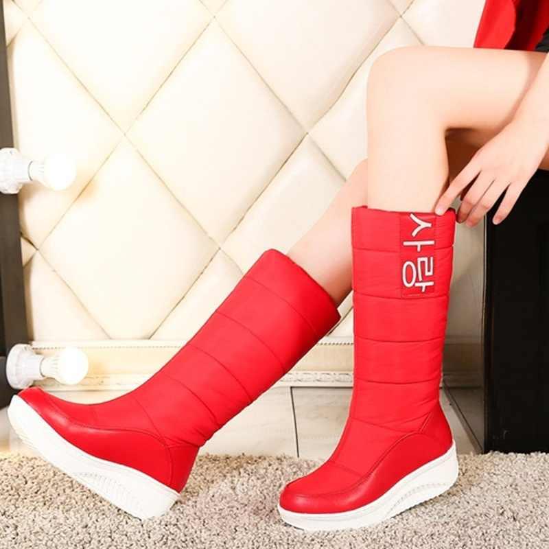 EGONERY Kore kelime bayan kar Aşağı diz yüksek kürk çizmeler parti kış bahar peluş moda sıcak kadın ayakkabı artı boyutu 35-44 CN