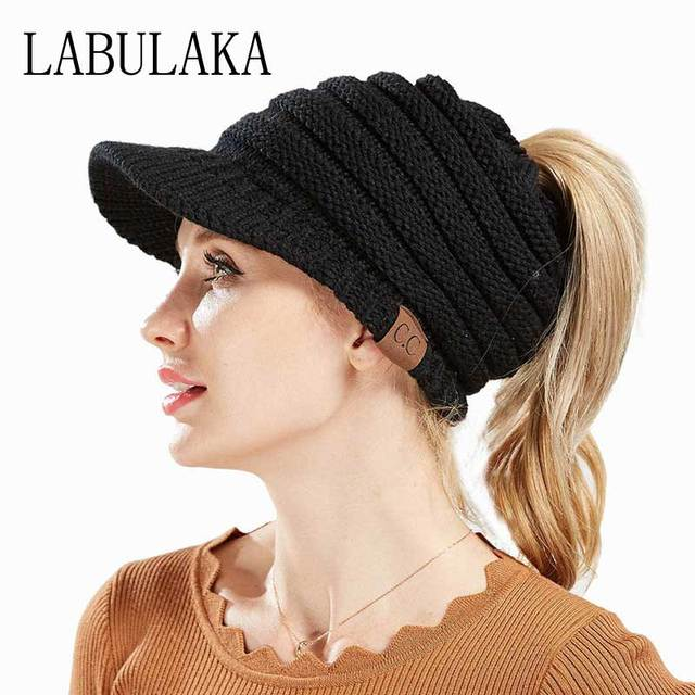 2018 New CC Ponytail Beanie Women Winter Hats Visor Baseball Caps Messy Bun  Hat Knitted Beanies 3c05e20b2ba
