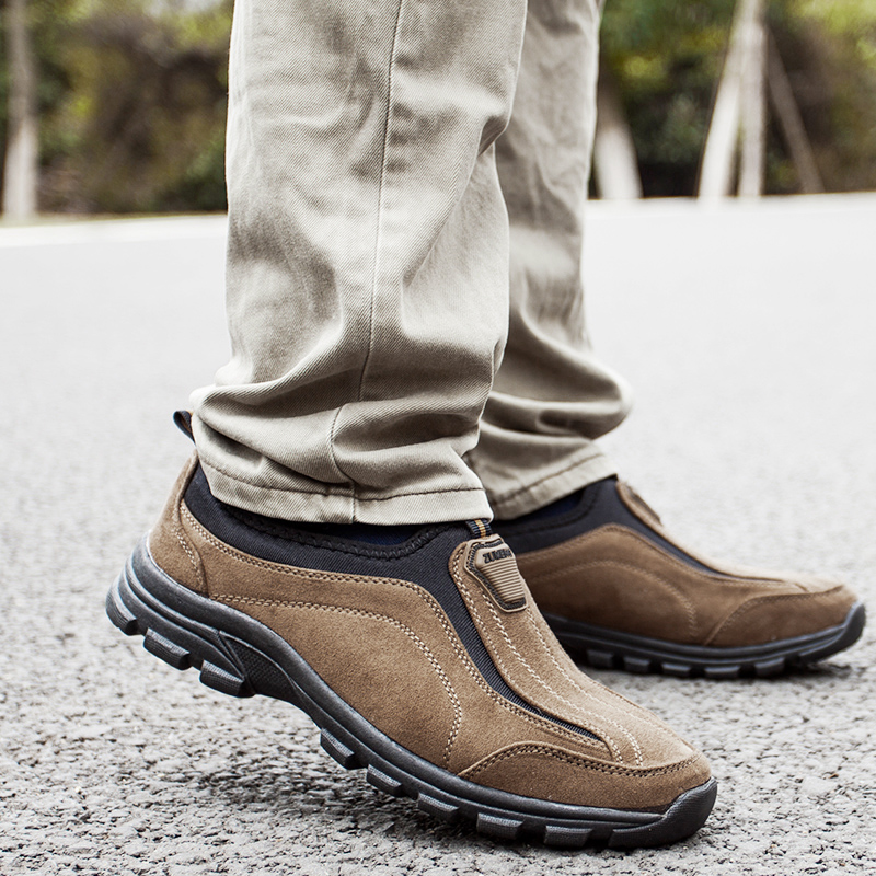 s hiking shoes slip on leather outdoor