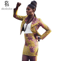 African Clothing 2016 Spring Autumn Summer Ankara Batik Wax Print Pure Cotton Long Sleeve Beautiful Suit