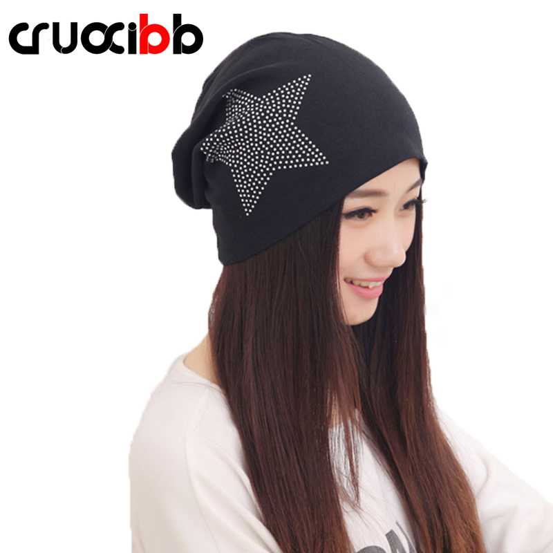 CRUOXIBB Fashion Women's Hat Knitted Beanies Bonnet Hats Design Five-Pointed Star Simulated Diamonds Female Gorro Skullies Girls